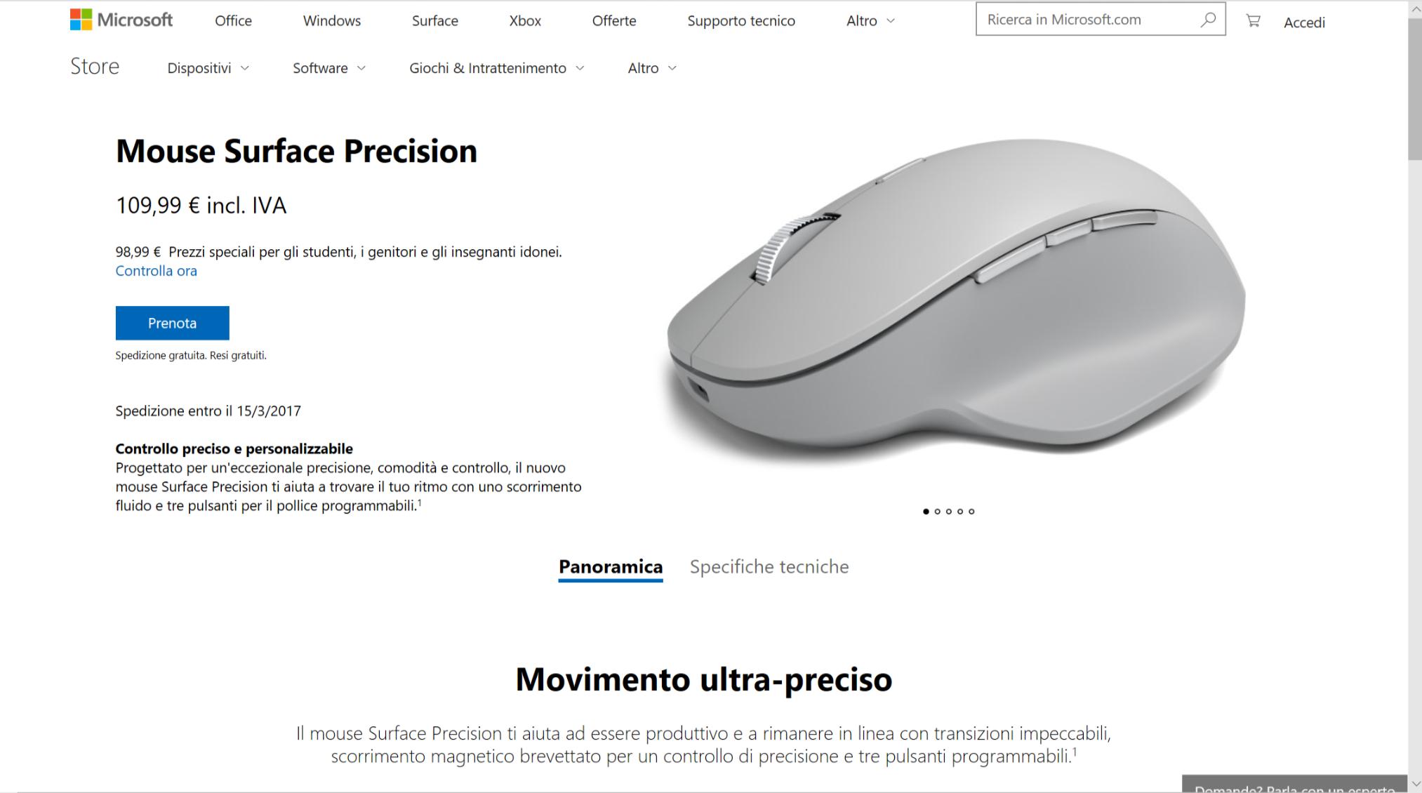 Microsoft Italia, arrivano Surface Precision Mouse e Arc Mouse Nero