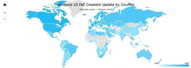 Windows 10, l'ultimo Fall Creators Update raggiunge l'85% del parco installato