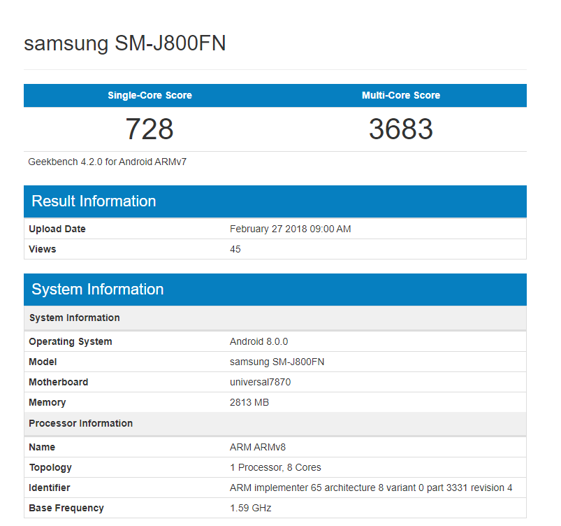 geekbench Galaxy J8