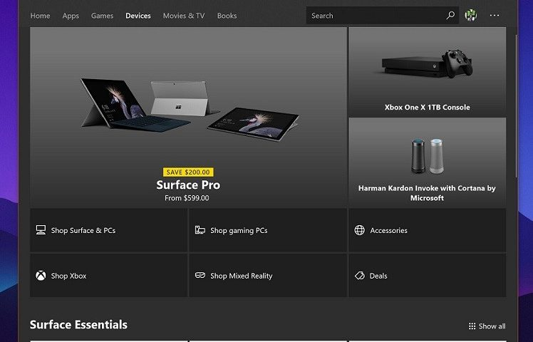 Microsoft, nello Store di Windows 10 appare la sezione dedicata ai Surface