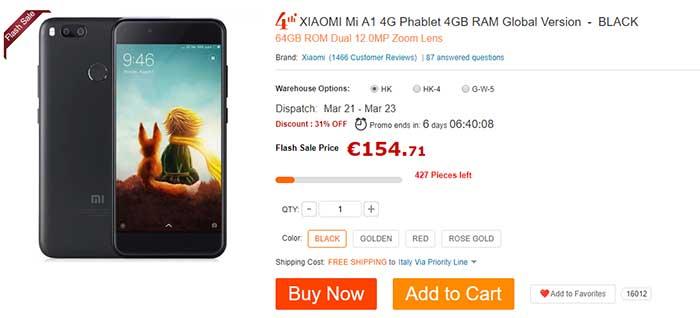 Super prezzo Xiaomi Mi A1 su Gearbest