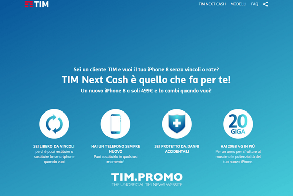 Tim Next Cash: come aver iPhone 8 a partire da 499 euro