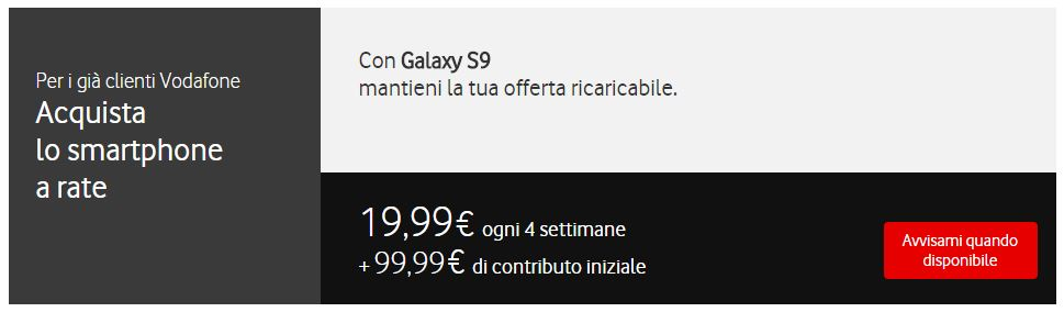 Vodafone Rate Galaxy S9