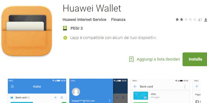 Huawei Wallet sbarca sul Play Store: presto anche in Europa?