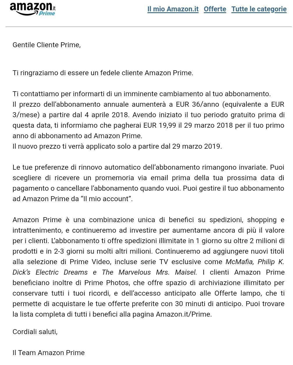 aumento Amazon Prime