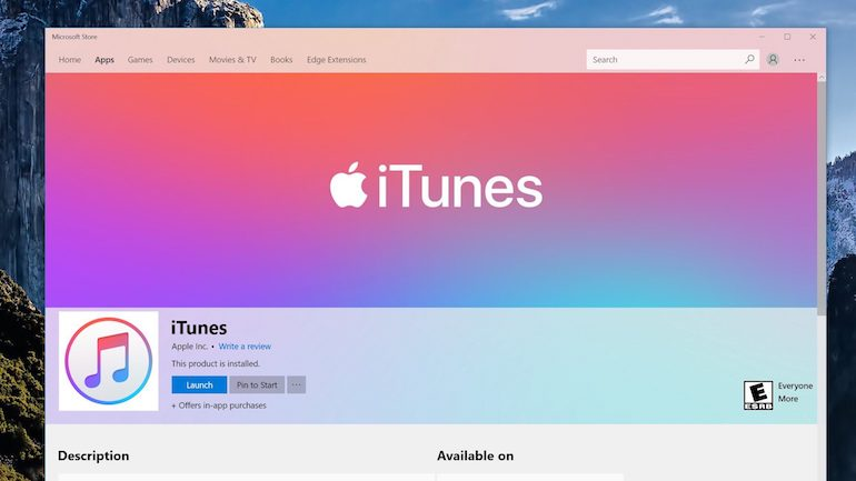 iTunes per Windows disponibile al download sul Microsoft Store