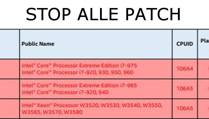 Cattive notizie Intel: stop alle patch Spectre per le CPU più datate