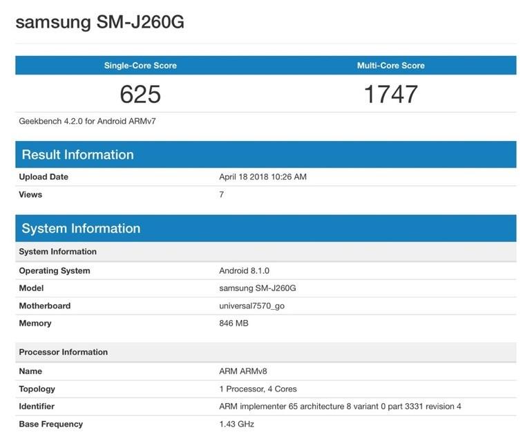 Samsung Galaxy J2 Core benchmark