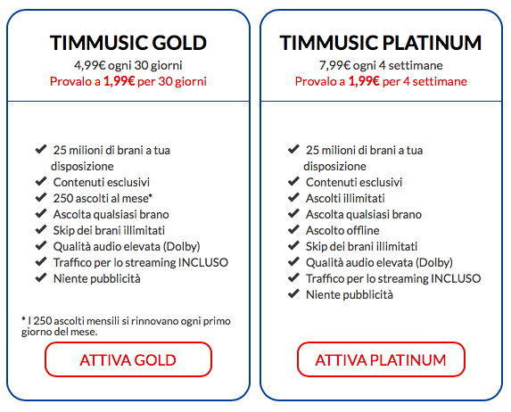 Opzioni TIMMUSIC