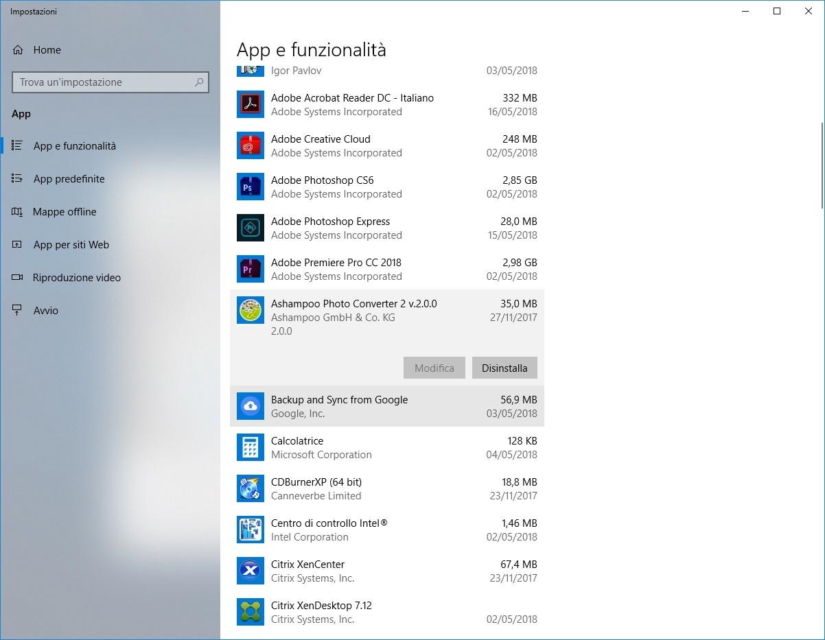 App & Funzionalità