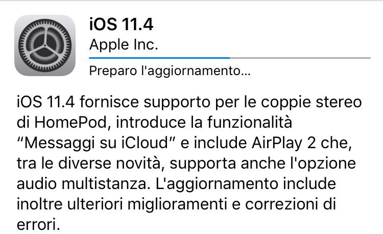 iOS 11.4 disponibile al download per tutti