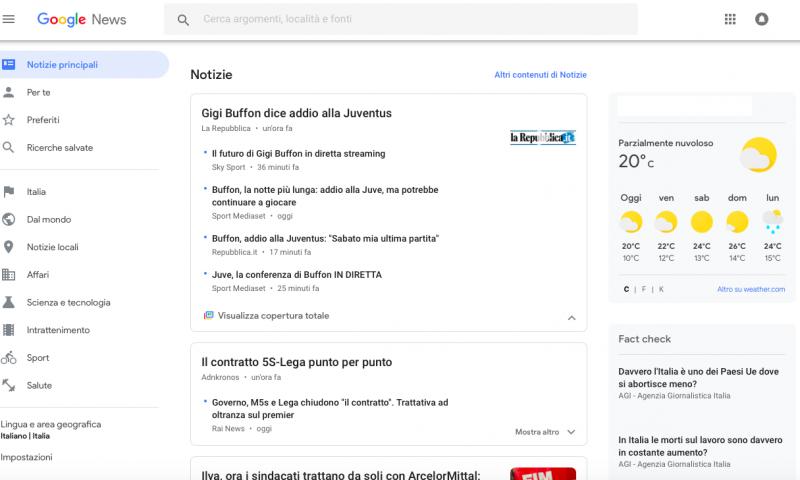 Il nuovo Google News arriva anche sul web