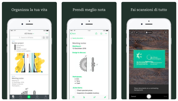 Evernote si aggiorna su App Store consentendo la registrazione tramite cuffia