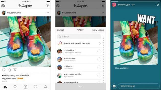 Su Instagram è possibile condividere i post, ma solo nelle storie