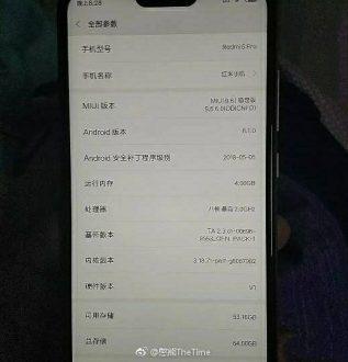 Xiaomi Redmi 6 Pro in nuove immagini reali
