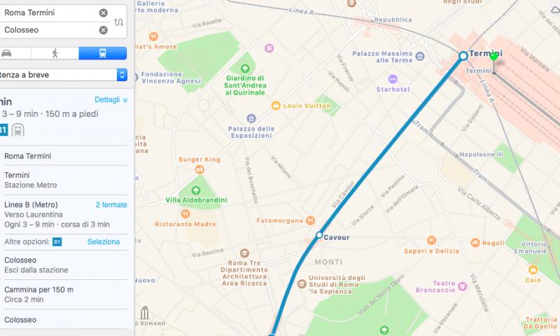 Le indicazioni per i trasporti pubblici di Apple arrivano a Roma