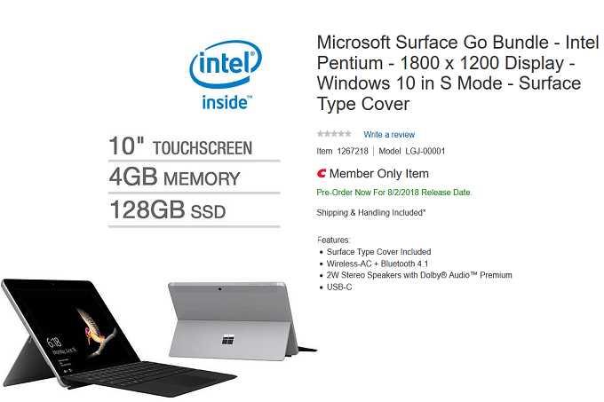 Nuova variante di Surface Go scoperta presso Costco
