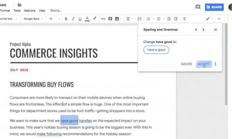 Google Documenti aggiunge il controllo grammaticale con tecnologia AI