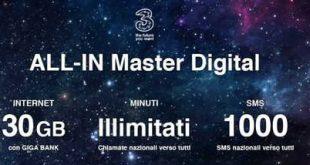 All in Master, 30 GB e minuti illimitati a metà prezzo ancora valida fino al 2 settembre