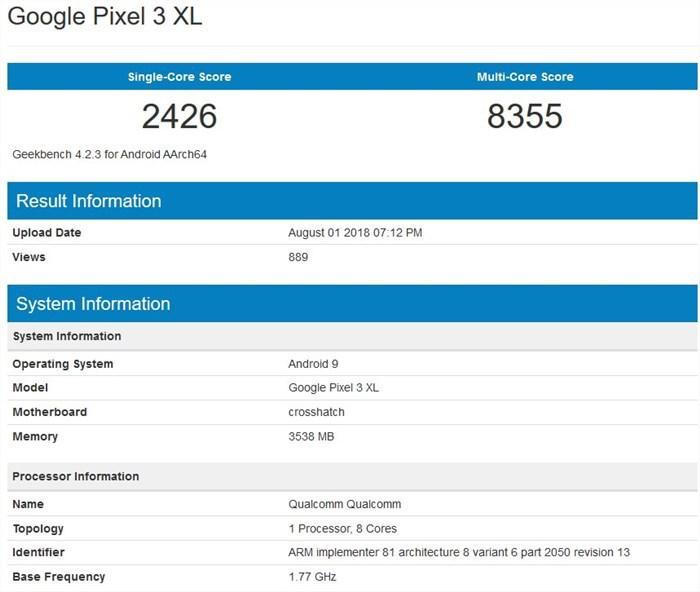 Pixel 3 XL benchmark