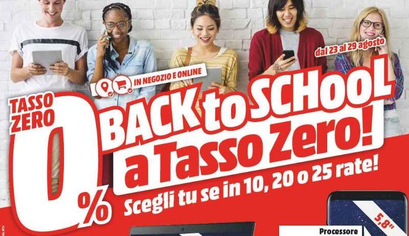 Nuovo volantino Mediaworld Back to School. Tutto a tasso zero