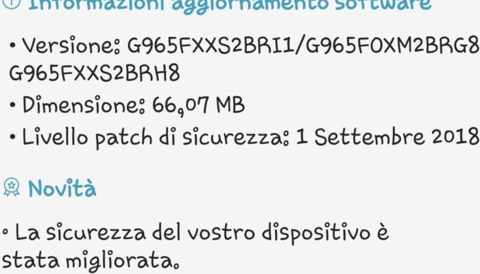 Download disponibile per le patch di settembre su Galaxy Note 9, S9 ed S9+ in Italia