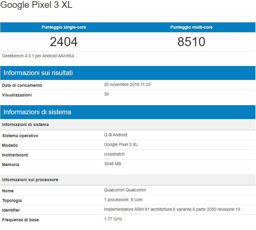 Google Pixel 3 XL Android Q