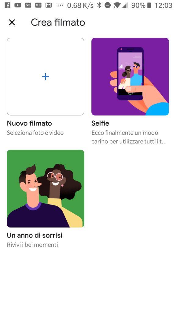 Esempio di creazione filmato con Google Foto