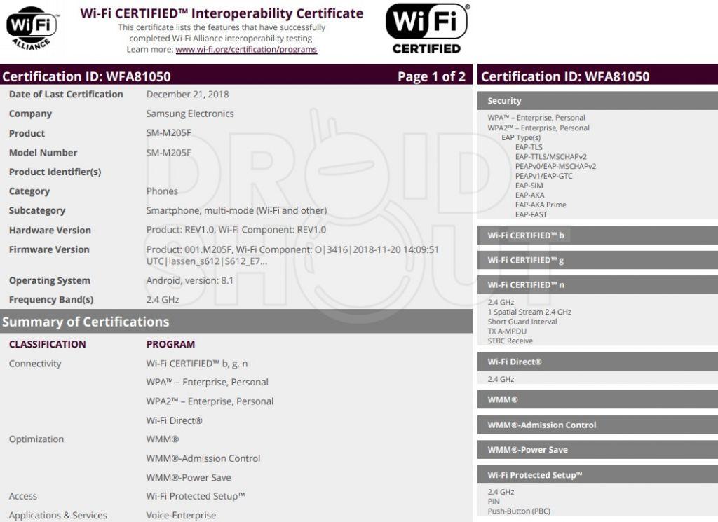 Documento di certificazione Wi-Fi Allience per Sasmung Galaxy M20