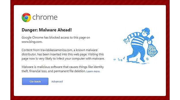 Schermata di rilevazione malware da parte di Google Chrome