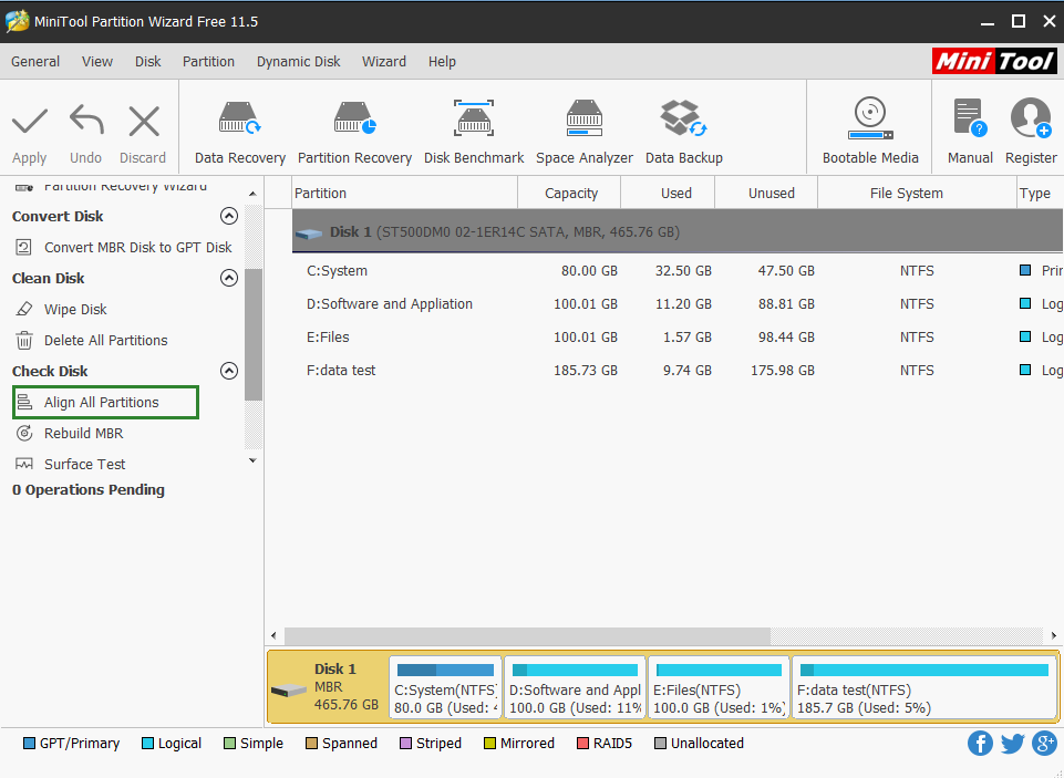 MiniTool Partition Wizard 11.5
