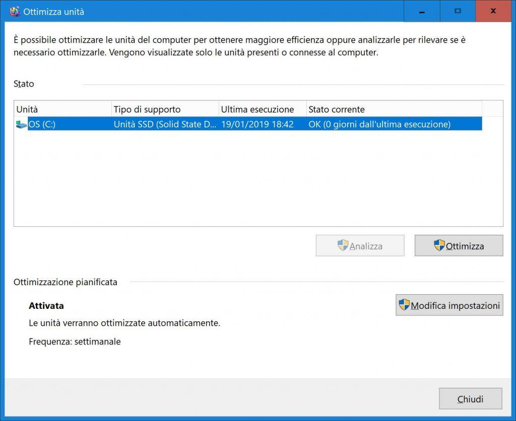 Utilità di deframmentazione e ottimizzazione disco di windows 10