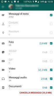 Whatsapp, come liberare lo spazio archivia chat