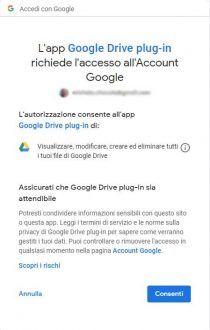 Immagine di conferma autorizzazioni accesso Account Google