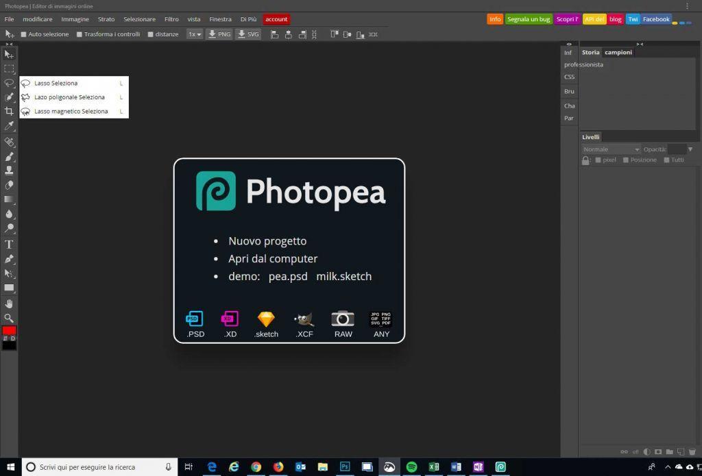 Interfaccia Photopea web abb