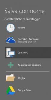 Aggiunta di Google Drive all'interno del menu salva con nome
