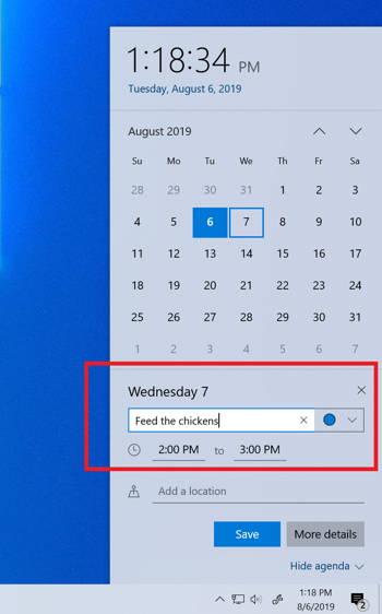 Calendario Windows 10 1909