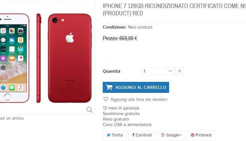iPhone 7 Red Edition 128GB ricondizionato, pari al nuovo, ad un super prezzo