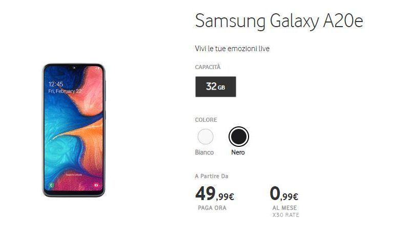 Come avere Samsung Galaxy A20e a soli 2,99€ con Vodafone