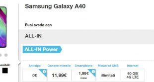 Come avere Samsung Galaxy A40 con Tre a meno di 2 euro al mese